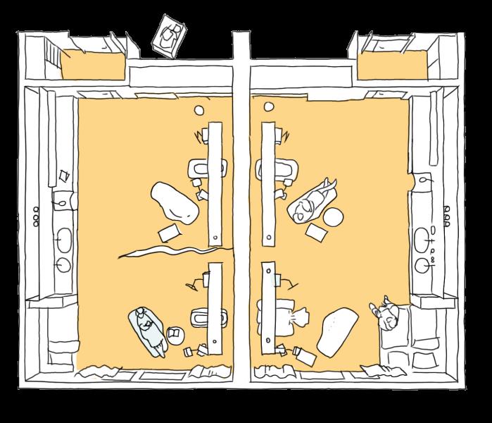 Blick in Patientenzimmer 2x2 von oben