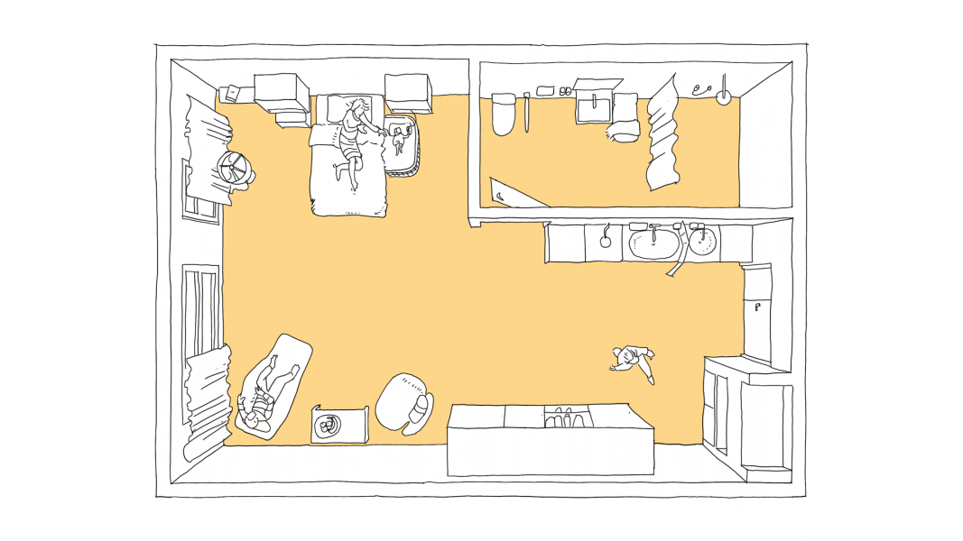Blick in das Rooming-In-Zimmer von oben